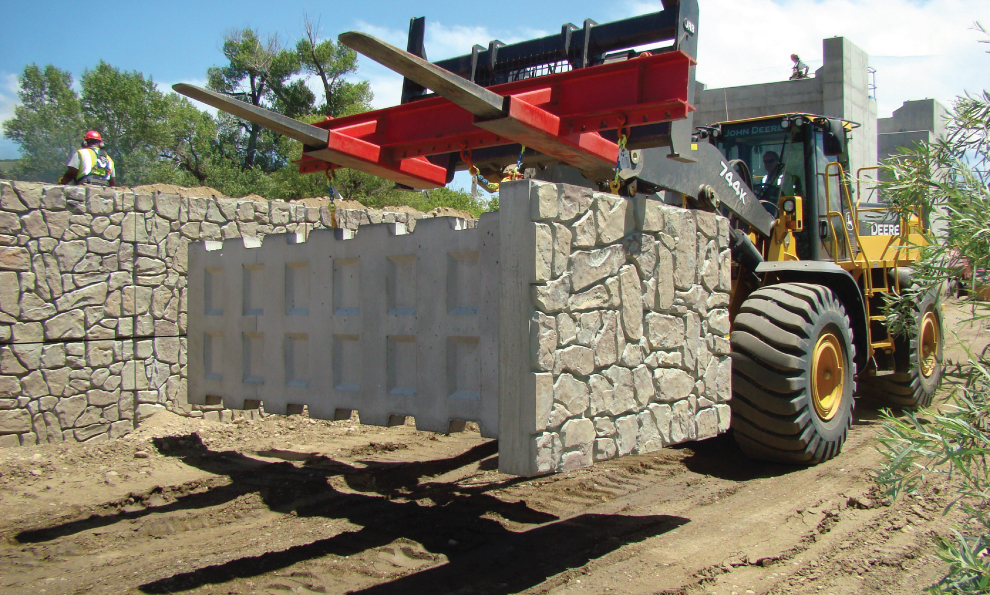 Forklift Carrying Precast Modular Retaining Wall