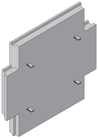 Back face of Cruciform panel with embedded tie strips