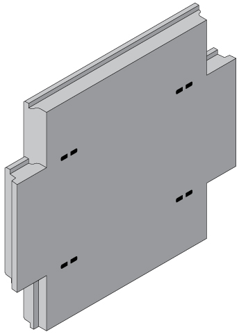 Cruciform panel with GeoStrap Sleeve Recesses