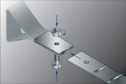 Reinforcing strip connection on panel