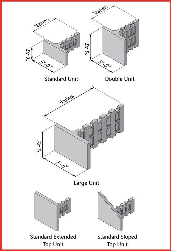 T-Wall Unit Size Diagram