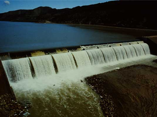 Water Flowing on the Taylor Draw Dam