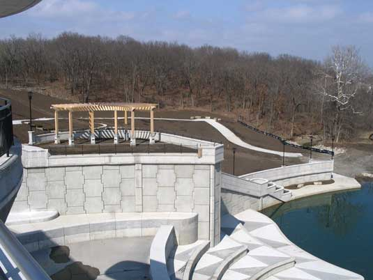 Side View of MSE Wall Structures at Lake Lenexa Dam