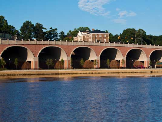 View from Water of George Street Bridge in NJ