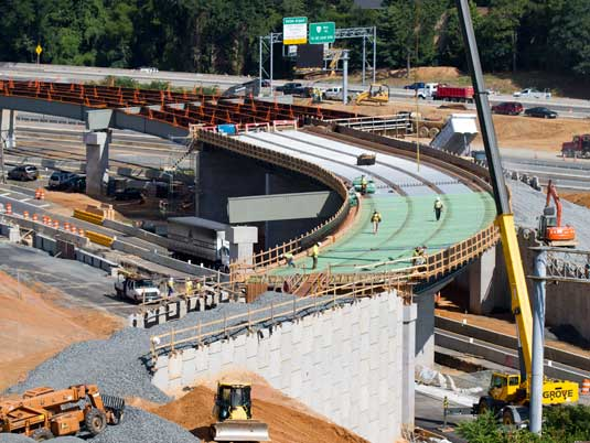 Construction of MSE Walls and Bridge on I-496 Overpass