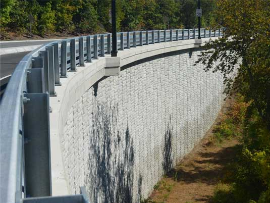 Completed MSE Retaining Wall on the Broad Street Parkway Project