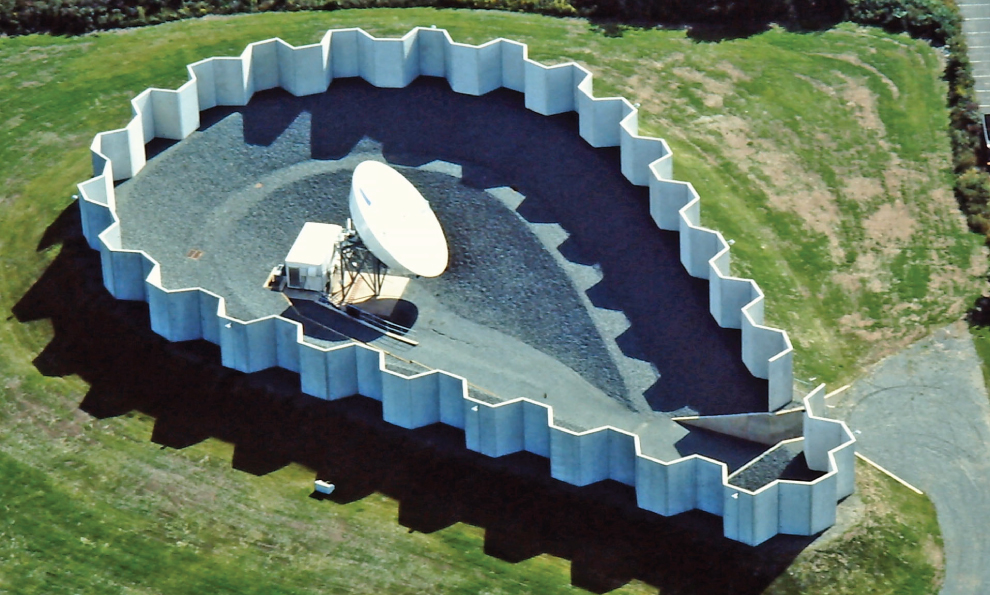 Protective Structure Walls Surrounding Satellite