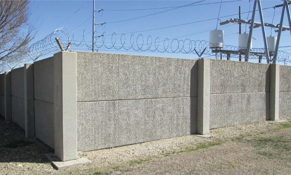 Post-and-Panel Wall Protecting Electrical Facility