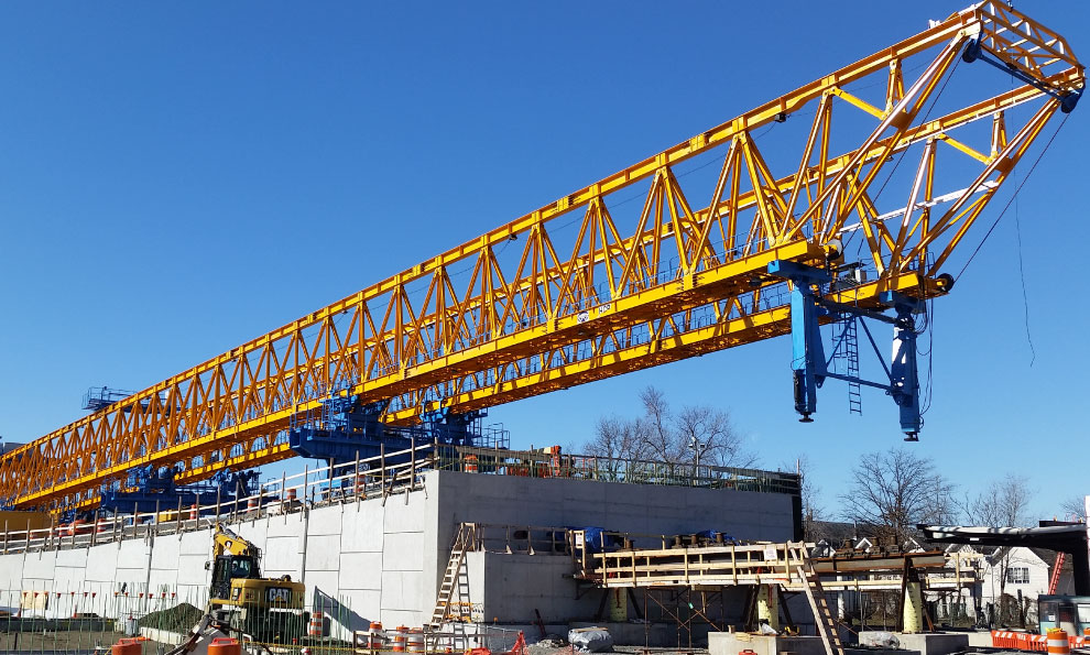 MSE Wall Embankment Holding Crane for Bridge Construction