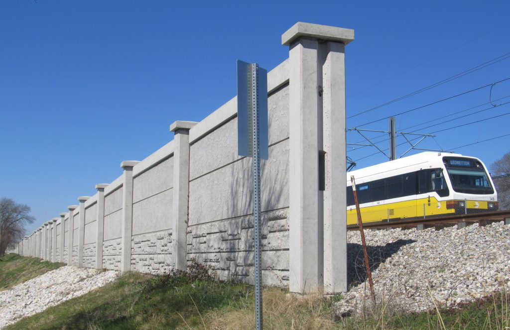 Sound Barrier Wall Along Railroad Tracks