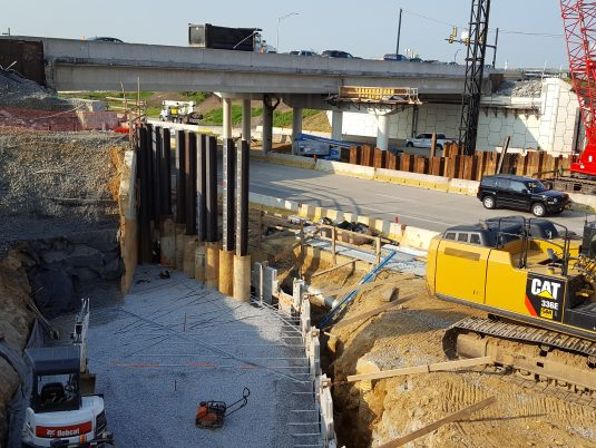 Early Construction of MSE Wall at Freemansburg Avenue Bridge