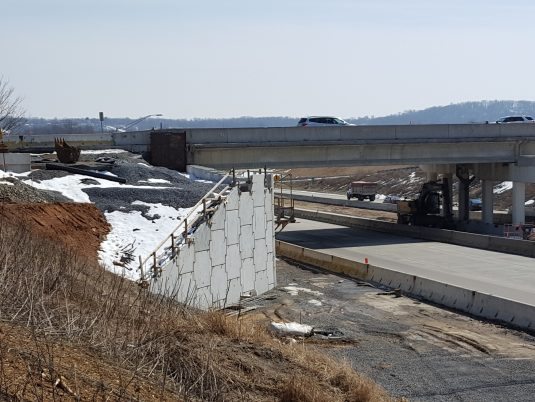 Side of MSE Wall Construction at Freemansburg Avenue Bridge