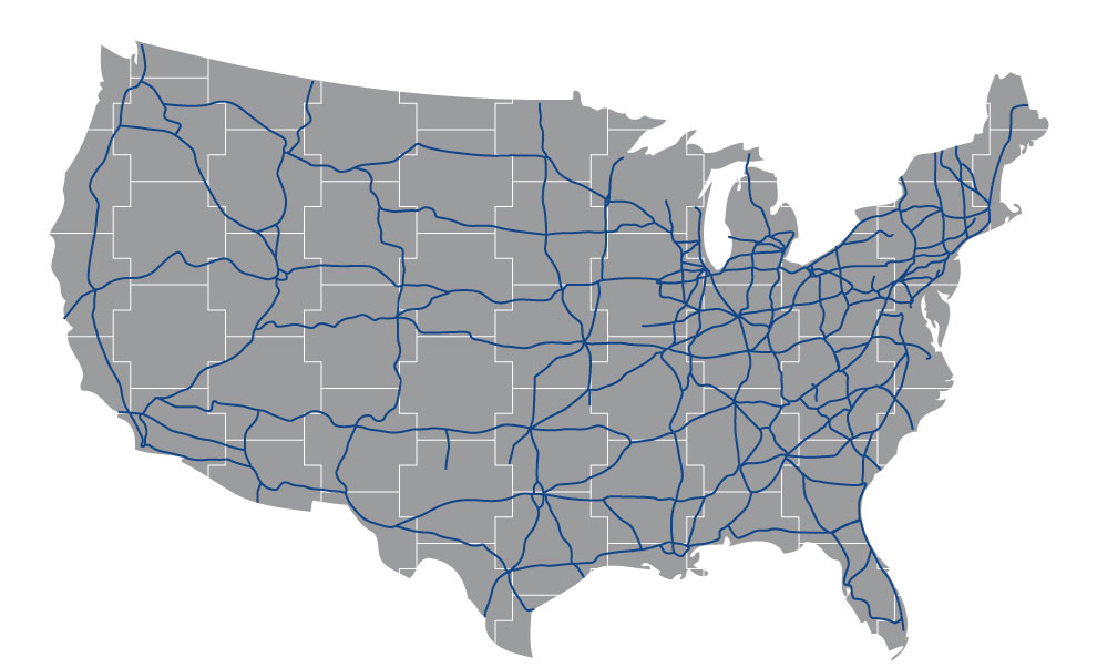 United States Map Showing Highway and Roadway Projects