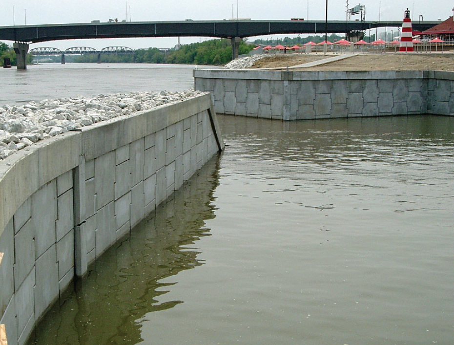 MSE Wall Constructed Along Water at a Marina