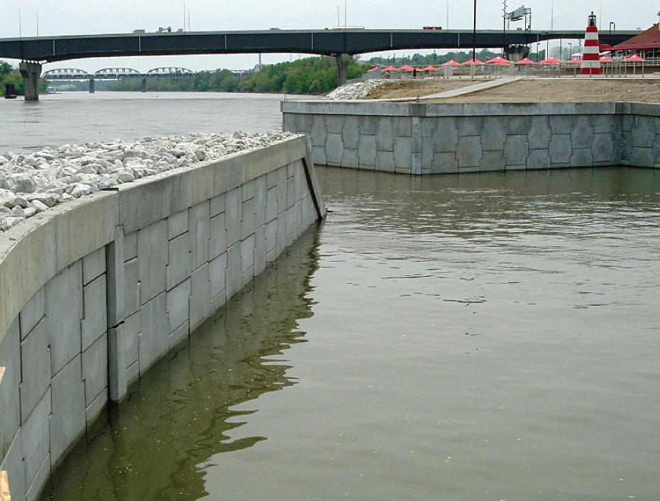MSE Wall Constructed Along Water at a Marina