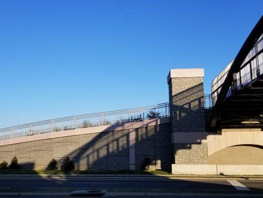 Shadow Covering MSE Wall at Renva Weeks Knowles Memorial Bridge