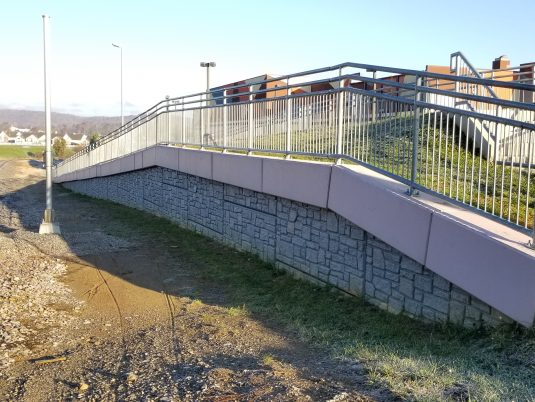MSE Wall Constructed with Guard Rail at Renva Weeks Knowles Memorial Bridge