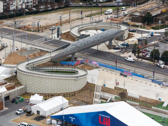 Sky View of Mercedes-Benz Stadium Northside Drive Pedestrian Bridge