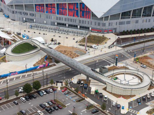 Overlook of Mercedes-Benz Stadium Northside Drive Pedestrian Bridge