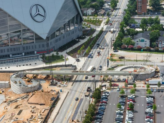 Zoomed Out View of Mercedes-Benz Stadium Northside Drive Pedestrian Bridge