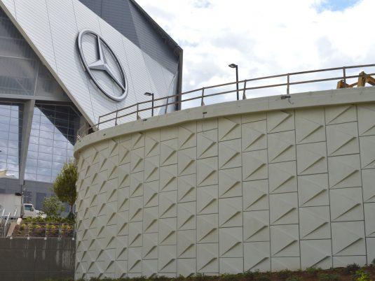 Side View of Mercedes-Benz Stadium Northside Drive Pedestrian Bridge