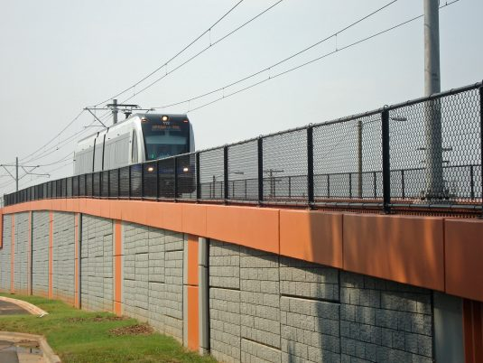 Side View of the Lynx Blue Line in Charlotte, North Carolina