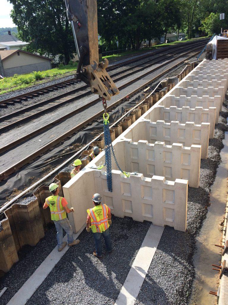 Construction of T-WALL® Precast Modular Retaining Wall System