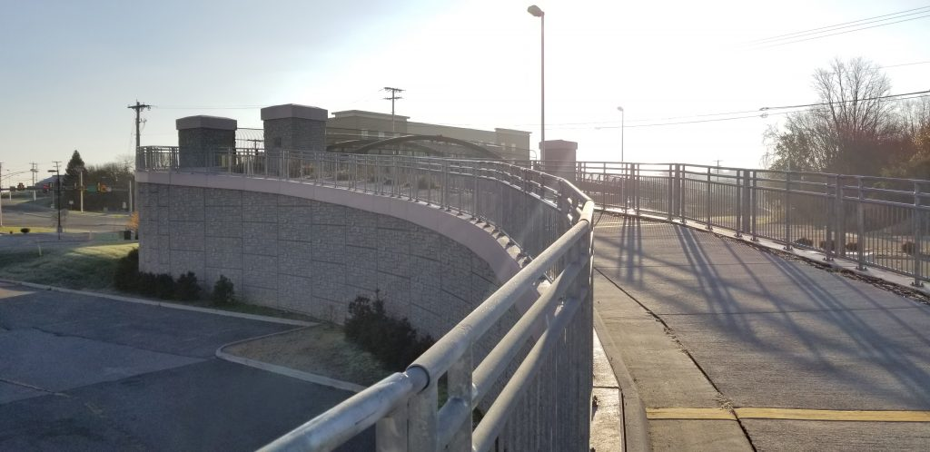 Retaining Wall on a Curve at Renva Weeks Knowles Memorial Bridge in Christiansburg, VA
