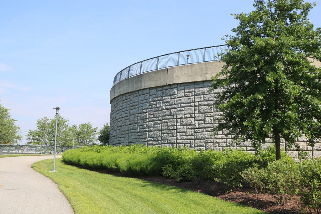 Curved Retaining Wall at Wilson Bridge Rosalie Island in National Harbor, MD